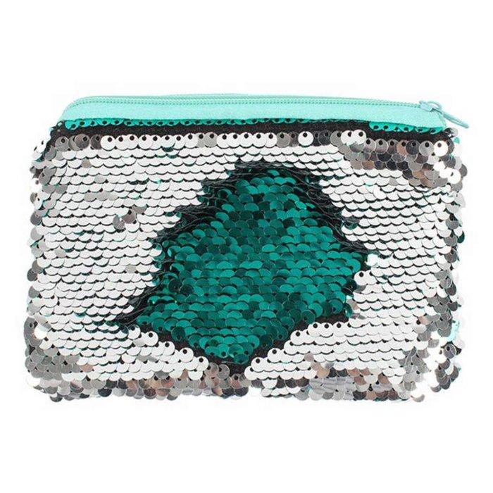 Grün-silberne Wendepailletten Geldbörse