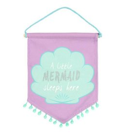 'A Little Mermaid Sleeps Here' Fabric Flag