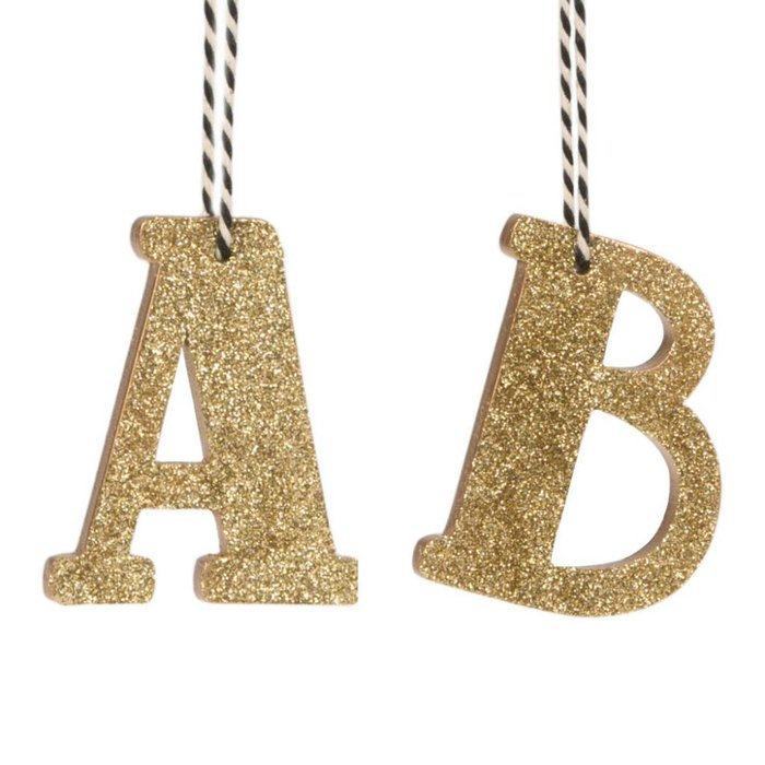 Gold Glitter Letter Hanging Decoration
