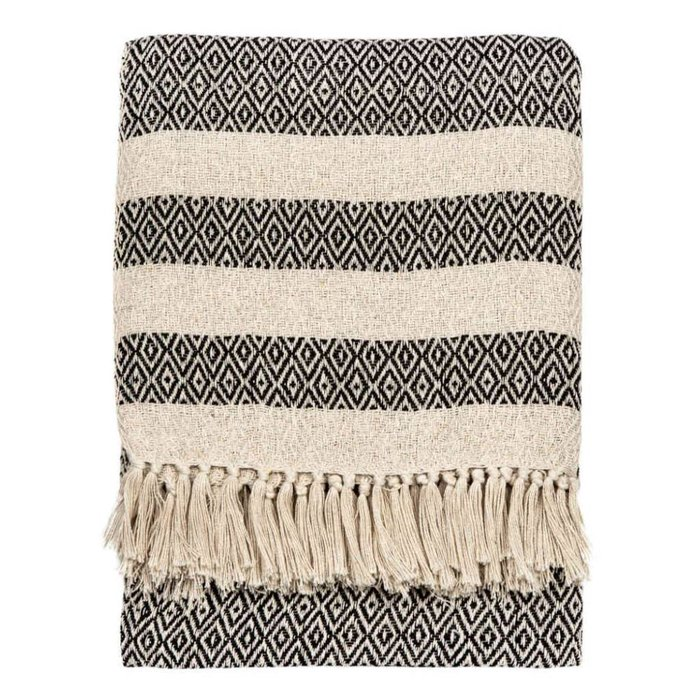 Black & Beige Cotton Throw Blanket