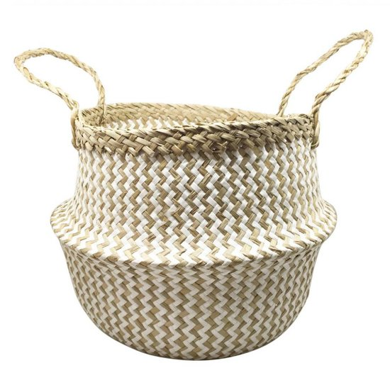 White Zig-Zag Seagrass Belly Basket