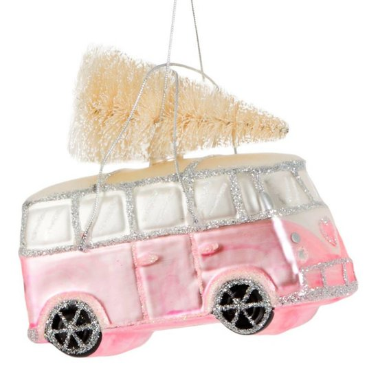 Pink VW Bus with Christmas Tree