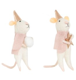 Winterdekoration Mäuse mit Stern & Schneeball