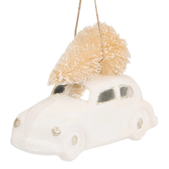 White & Gold Car with Christmas Tree
