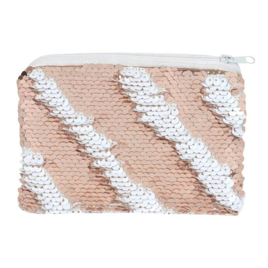 White & Rose Gold Reversible Sequin Purse