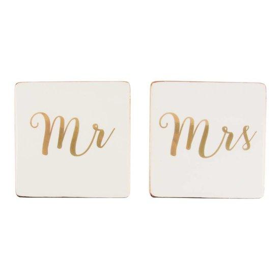 'Mr & Mrs' gold-weiße Untersetzer, 2er Set