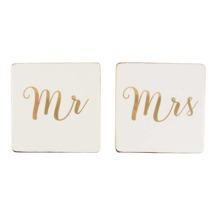 Set of 2 Gold 'Mr & Mrs' Coasters