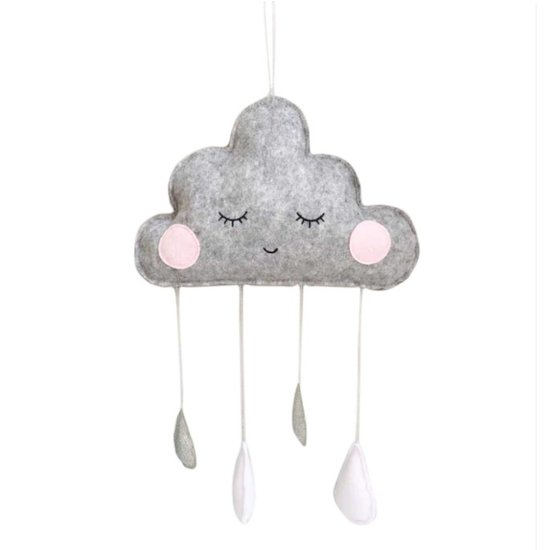 Grey Cloud Mobile with White/Grey Sparkling Raindrops