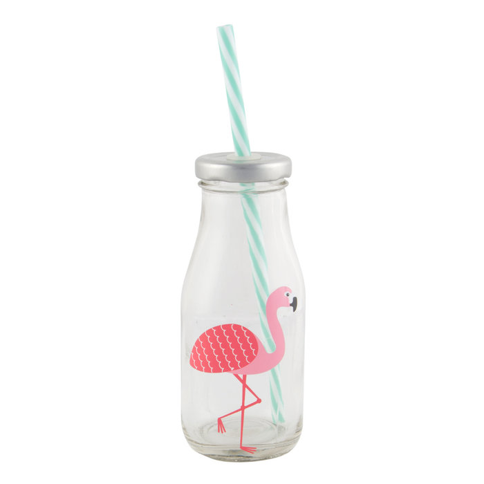 Flamingo Glass Milk Bottle