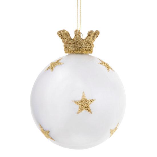 Weiß-goldene Weihnachtskugel mit Krone