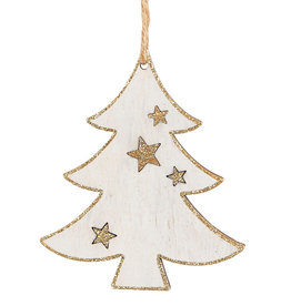Gold & White Wood Christmas Tree Decoration