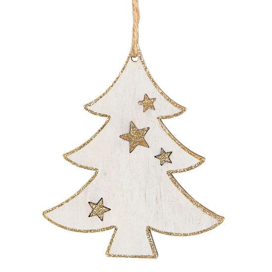 Gold-weiße Holzdeko Weihnachtsbaum