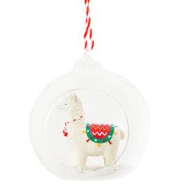 Offene Weihnachtskugel Lama