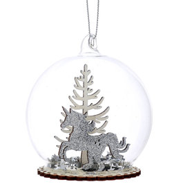 Unicorn Winter Scene Dome Bauble