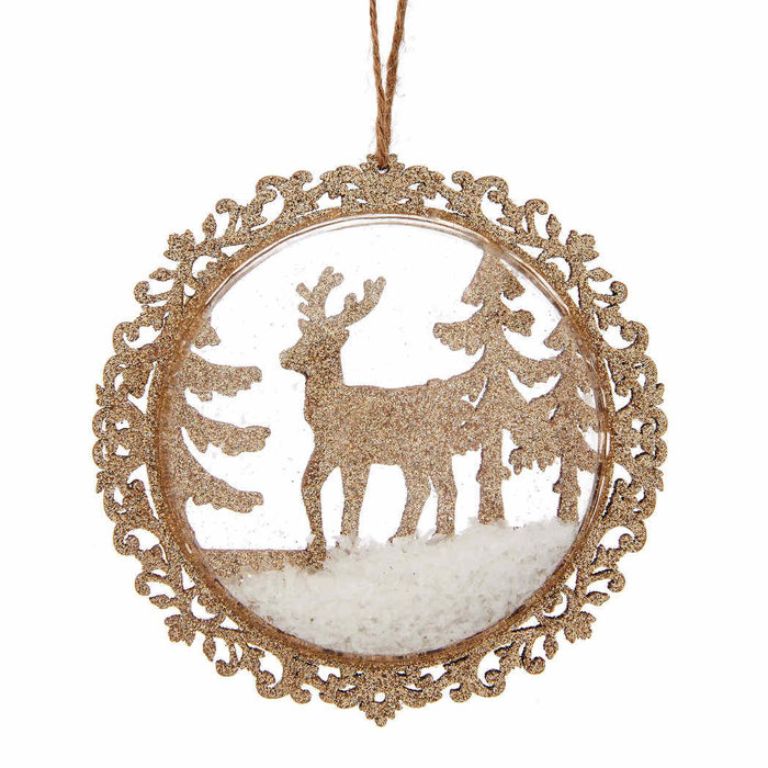 Gold Reindeer In The Snow Bauble