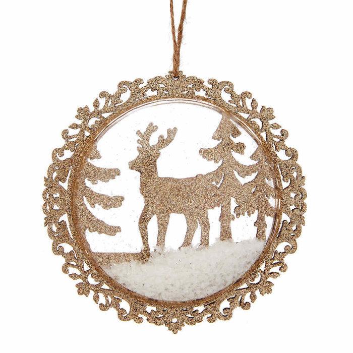 Weihnachtskugel goldenes Rentier im Schnee