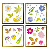 Pressed Flowers Glass Coasters, Set of 4