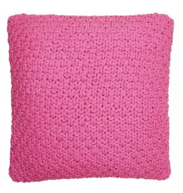 Pink Hand-Knitted Cotton Cushion