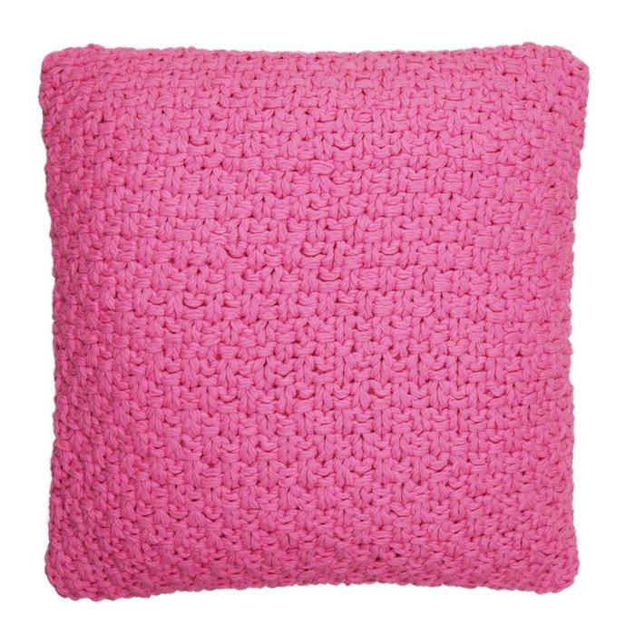Pinkes handgestricktes Baumwollkissen