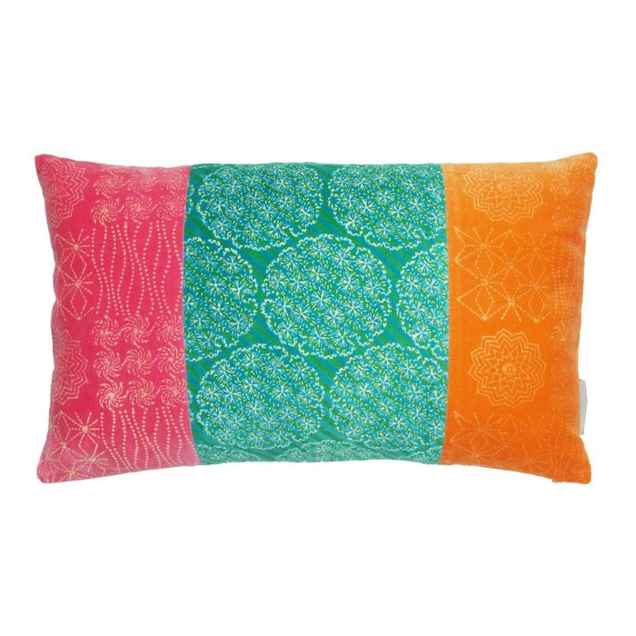 Bright Velvet Patchwork Cushion