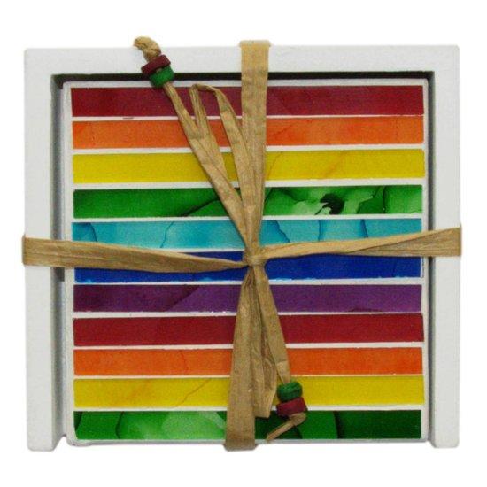 Rainbow-Coloured Mosaic Coasters, Set of 4