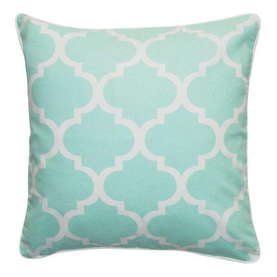 Mint-coloured Quatrefoil Cushion Cover