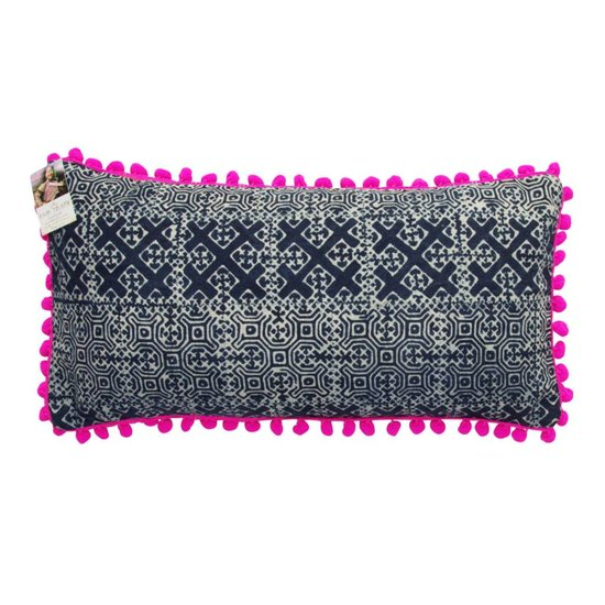 Batik Cross Pattern Cushion Cover with Pink Pom Poms