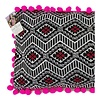 Embroidered Zigzag Cushion Cover with Pink Pom Poms