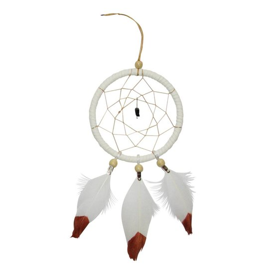 White Dreamcatcher with Copper Dipped Feathers