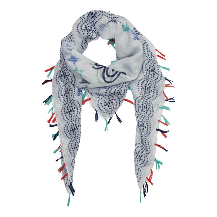 Ornamental Scarf with Colourful Tassels