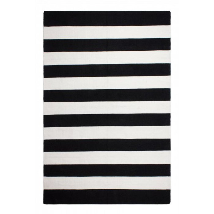 Recycled Black & White Striped Rug Nantucket