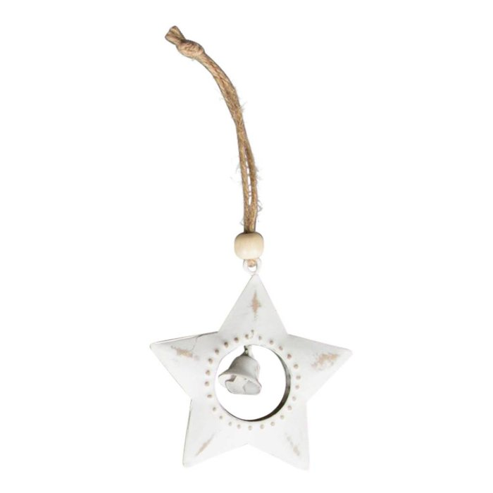 Snowy Christmas Star Hanging Decoration with Bell