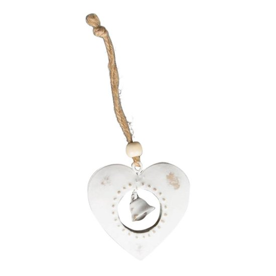 Snowy Christmas Heart Hanging Decoration with Bell