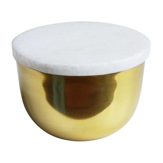 Goldene Dekoschale mit Marmordeckel