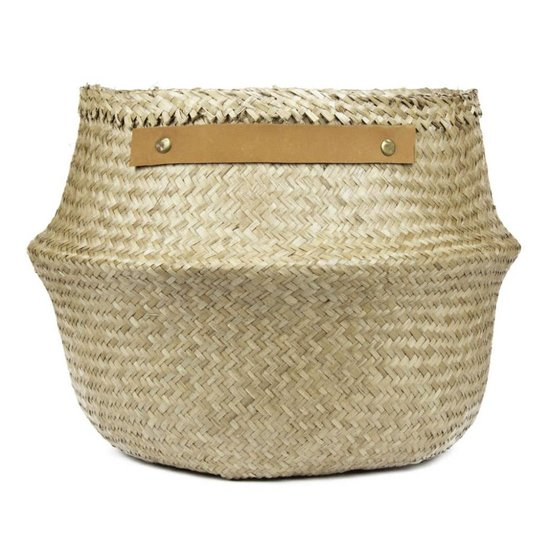 Belly Basket with Leather Handles