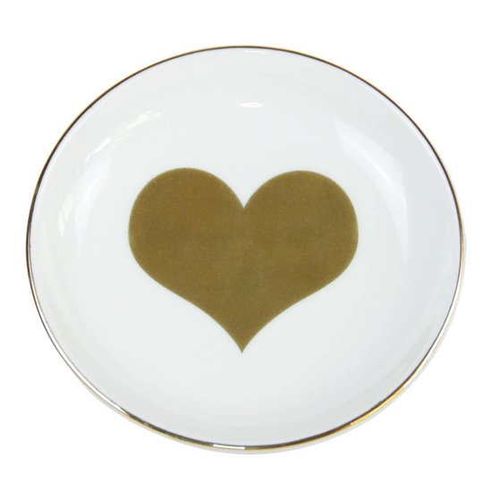 Ceramic Ring Dish with Golden Heart