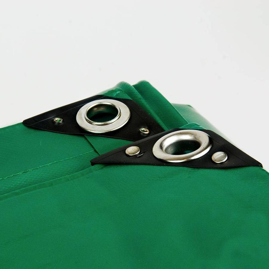 25x25 Groen 650gr PVC afdekzeil met 18mm zeilringen (nestels, ringogen)