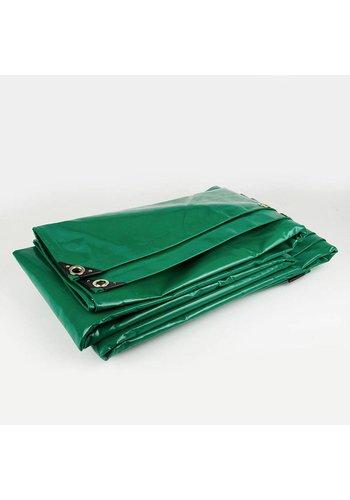 5x8 Groen 650gr PVC afdekzeil met zeilringen (nestels)