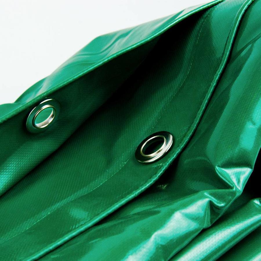 4x8 Groen 650gr PVC afdekzeil met 18mm zeilringen (nestels, ringogen)