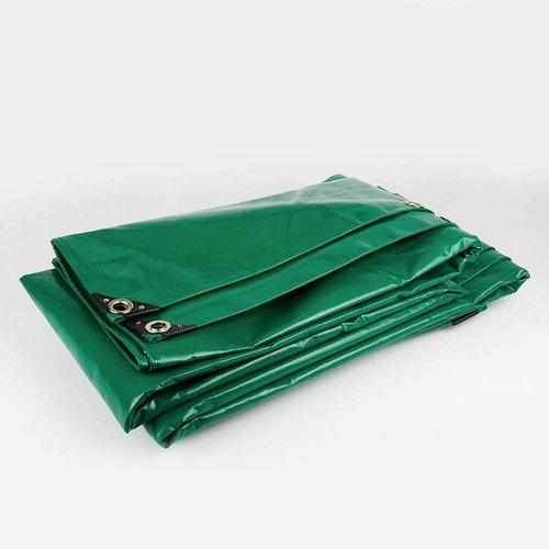 3,5x8 Groen 650gr PVC afdekzeil met zeilringen (nestels)