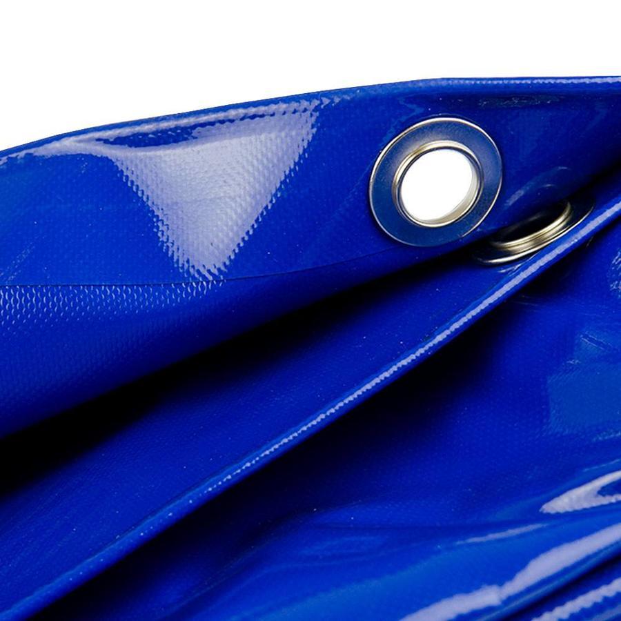 5x6 Blauw 650gr PVC afdekzeil met 18mm zeilringen (nestels, ringogen)