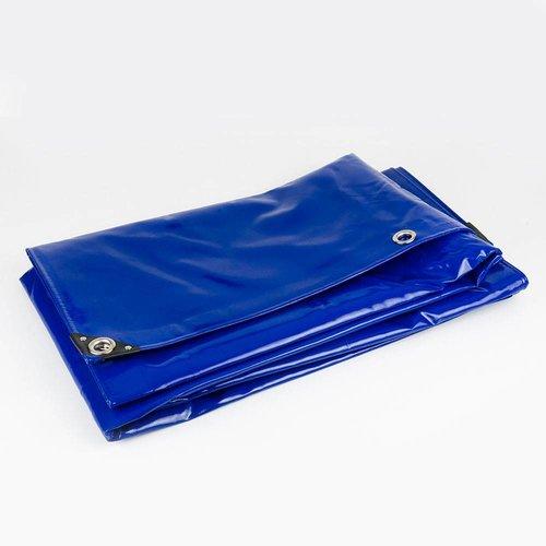 8x10 Blauw 650gr PVC afdekzeil met zeilringen (nestels)