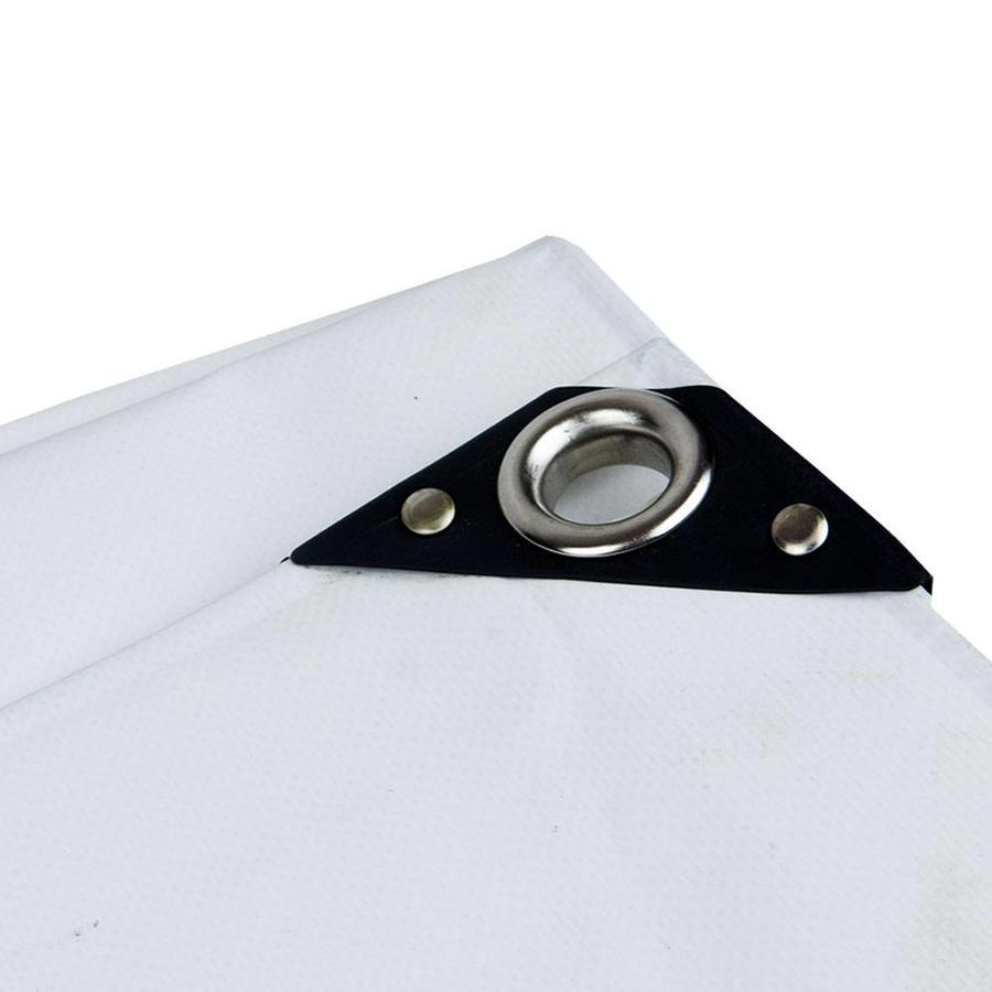 4x6 Wit 650gr PVC afdekzeil met 18mm zeilringen (nestels, ringogen)