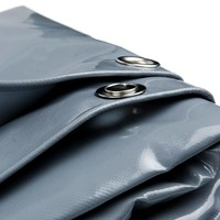 5x6 Grijs 650gr PVC afdekzeil met 18mm zeilringen (nestels, ringogen)
