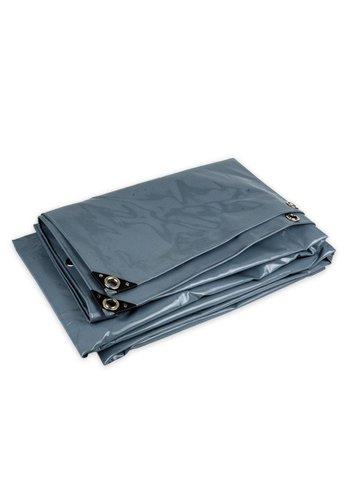 5x6 Grijs 650gr PVC afdekzeil met zeilringen (nestels)