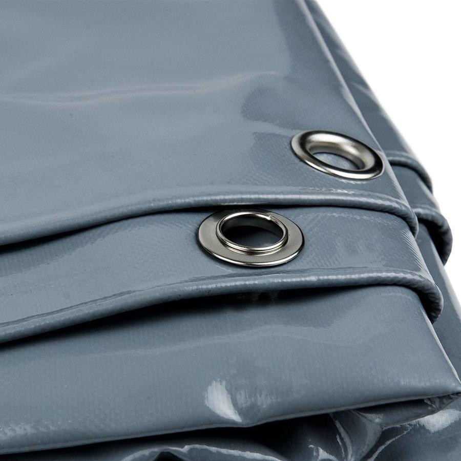 4x8 Grijs 650gr PVC afdekzeil met 18mm zeilringen (nestels, ringogen)