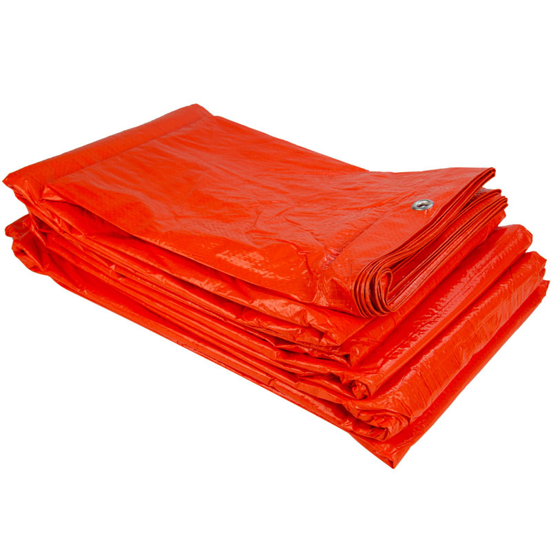 6x8m Oranje Zeil PE/ Bouwzeil (100gr/m2) incl. Zeilringen