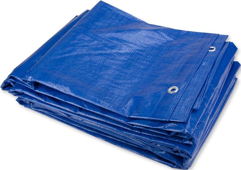8x10m Blauw Zeil PE/ Bouwzeil (150gr/m2) incl. Zeilringen