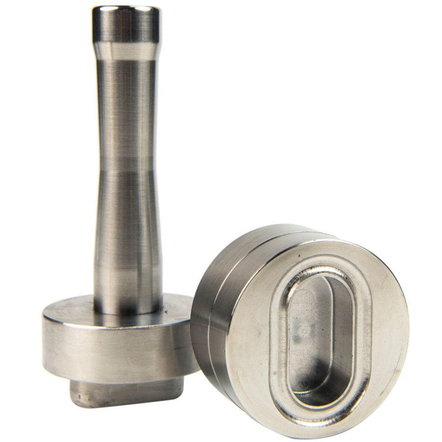 Handstempel 42x22mm ovaal rvs professioneel