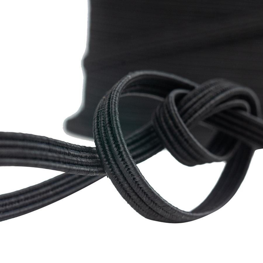 Elastisch koord 11mm plat zwart op rol
